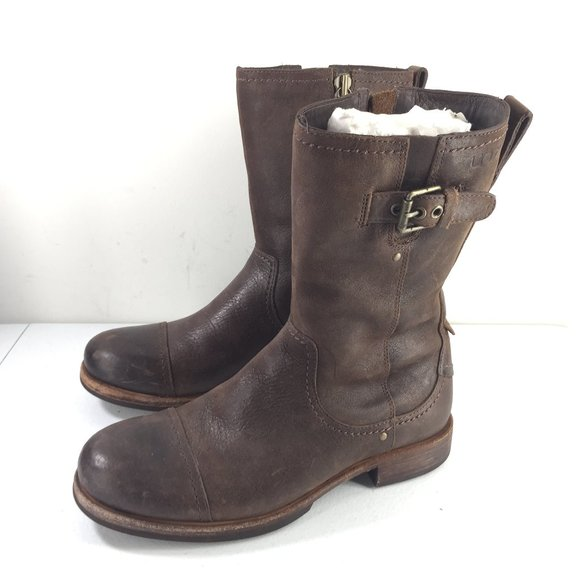 UGG Other - Ugg men's 8 Brown Leather Mid Boots Buckle Moto